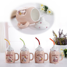 1set Home Office Afternoon Tea Cup Milk Juice Coffee Mug Creative Cute Bottle Ceramic Cup Tea Cup Leisure Bar Supplies 6ZDZ120(China)