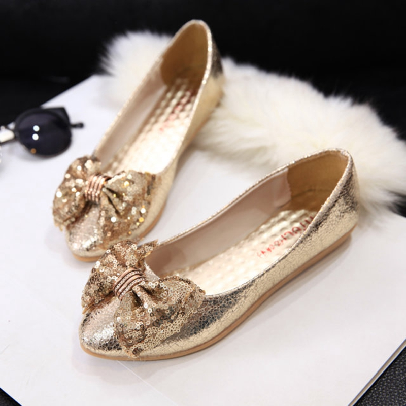 Gold wedding shoes paillette flat heel shoes for women bow fashion casual brand shoes lazy shoes size 35-40<br><br>Aliexpress