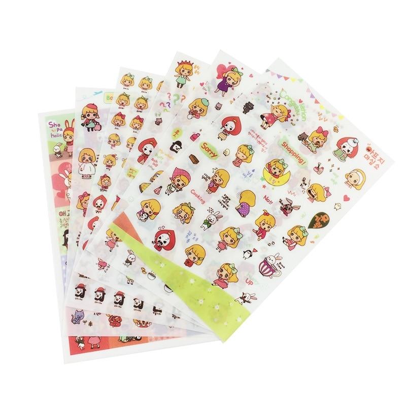 6 Sheetpack Book Sticker Girls Diary Scrapbook Calendar Notebook