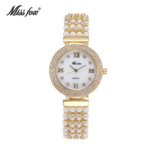 Miss Fox Nature Pearl Watch Women Famous Brand Steel Back Water Resistant Gold Watch Quartz Diamond Timepiece Women montre femme(China)