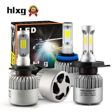 hlxg 2Pcs Auto H4 LED H7 H11 H8 9006 HB4 H1 H3 HB3 S2 Car Headlight Bulbs 72W 8000LM High Low Beam Automobiles Lamp 6500K 12V(China)