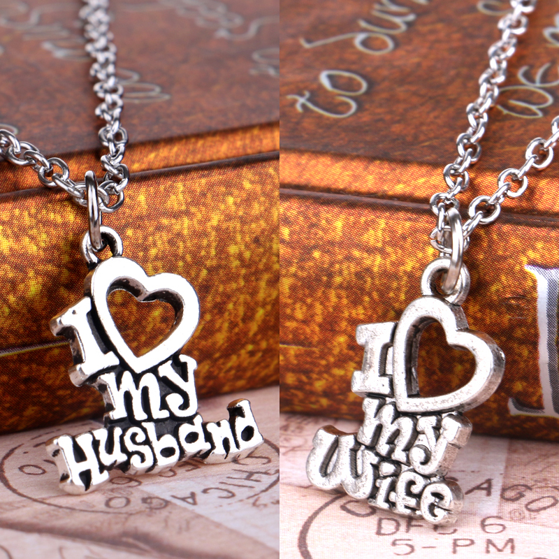 Valentines Gift I Love My Wife Husband Heart Letters Alphabet Pendant  Necklace For Women Men Jewelry