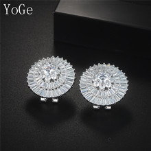 YoGe E65417  luxury sparkling flower big stud earrings  ,AAA cubic zirconia wedding bridal accessories dinner