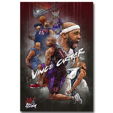 NICOLESHENTING Vince Carter Flying Dunk Basketball Star Art Silk Fabric Poster Print Sports Pictures for Home Decor 008