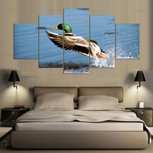 5 panel Modern hd Art print canvas Take off the mallard art wall framed paintings for living room wall picture ny-429(China)