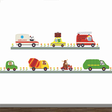 Police Ambulance Car Carton Animal Driver Decorative Stickers Kids Baby Nursery Boys Bedroom Decor Home Decal Mural Poster(China)