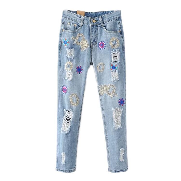 2017 summer new heavy industry gold wire embroidery hole jeans female wear slim slimÎäåæäà è àêñåññóàðû<br><br>