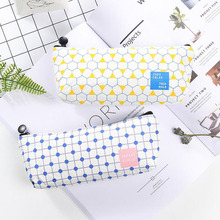 D34 1X Simple Geometry Grids Polka Dots Pen Pencil Bag Case Holder Canvas Storage School Office Supply Student Gift Big Storage(China)