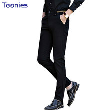 Fashion Brand Business Men Pant Casual Style Trousers Mens Solid Color Black Navy Blue Compression Pants Autumn Pantalon Homme