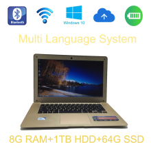 2017 Brand New 14 inch laptop Intel Celeron J1900 2.0GHz 8G ram 1TB HDD and 64G SSD windows 10 system built in camera laptop(China)