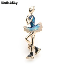 Wuli&Baby Blue Enamel Skater Figure Brooches Alloy Skating Girl Sports Bag Collar Brooches Pins Gifts(China)