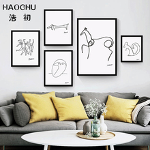 HAOCHU Minimalist Abstract Line Pablo Picasso Canvas Painting Wall Art Oil Poster Modular Wall Pictures for Living Room No Frame