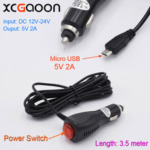 XCGaoon 3.5meter 5V 2A micro USB Car Charger With Switch for GPS / Mobile SmartPhone / Car DVR Camera input 12V 24V