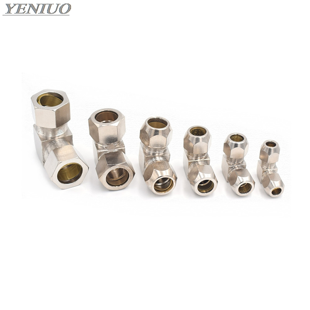 Pneumatic oil Pipe Fitting 4 6 8 10 12 14 16mm Pipe OD Elbow 90 Degrees Brass Compression Tube Pipe Fittings Connector