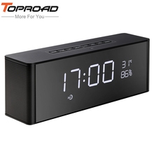 TOPROAD Portable Bluetooth Speaker With Microphone Stereo Rock Sound Outdoors Wireless PC Phone Speakers TF/FM /Alarm/Time Clock(China)