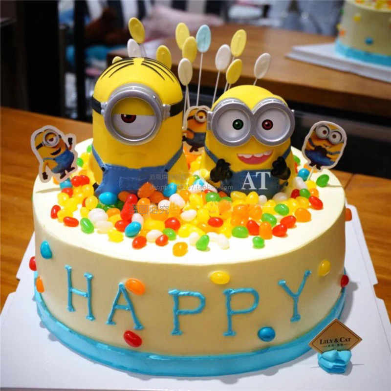 Minion Cake Topper Birthday Table Decoration Supplies Party Cupcake Toppers Toys For Kids Children