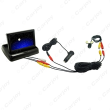 "Car 4.3""inch 2 in 1  Foldable Monitor CCD Mini Camera Cigarette Lighter Power RCA Video Cable Fast Quick Install  #CA2054"