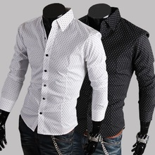 Discount Foreign Trade EBAY AliExpress Specifically For Small Dots Cotton Casual Men'S Shirts Long-Sleeved Slim Shirts