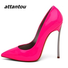 Fashion Women Metal stiletto High Heels Pumps Classy Peach Red Patent Leather Pointed Toe High Heels Dress Shoes Celebrities