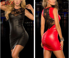 Buy XX33 2017New arrival sexy lingerie hot black lace patent leather splice soft cozy sexy dress backless slim temptation erotic