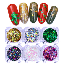 Xmas Holographic AB Color Nail Sequins Christmas Four Angle Stars Iridescent Nail Art 3D Decorations Glitter Paillettes UV Gel(China)