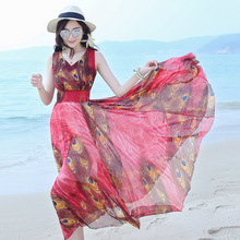 Maxi Dress New Real Make 2017 Summer Fair Maiden Temperament Large Pendulum V-neck Chiffon Sleeveless Waist Bigger Sizes Women