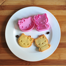2pcs/set Hello Kitty Cake Cookie Mold Cutter Fondant Baking Tool Biscuit Pretty Cartoon Shape Biscuit Mould Baking Tools  H01