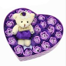 21pcs Soap Flower Valentine's Day Present Heart-shaped Gift Box Simulation Rose Wedding Decoration Girlfriend Birthday Gift 3(China)