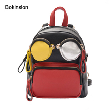 Bokinslon Backpacks For Girls PU Leather Cartoon Woman Backpack Bags Cute Mixed Colors Kids Fashion Small Bags(China)
