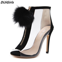 DiJiGirls women pumps high heels peep toe ransparent Clear Ankle Boots summer women Fuzzy Ball Pompon Gladiator Sandals Bootie 9(China)