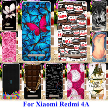 AKABEILA Soft TPU Plastic Mobile Phone Cases For Xiaomi Redmi 4A Redmi4A Red Rice 4A 5.0 inch Covers Rose Flower Butterfly Shell