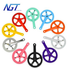 170mm Cycling Fixed gear chain wheel crankset track cycling folding bicycle CNC bike parts 10 color 44T For 700C road bike