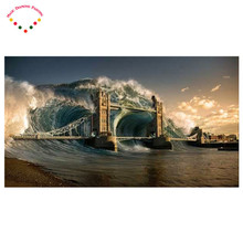 5d diy diamond embroidery set drill diamond painting picture of stone wall decor scenic aa946 waves of the sea Railway bridge
