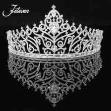 Gorgeous Sparkling Clear Big Wedding Diamante Pageant Tiaras Hairband Crystal Bridal Crowns For Brides Hair Jewelry Headpiece