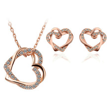 2017 hotselling girl party fashion bridal jewelry gold color Austrian Crystal Heart pendant Necklace Earrings sets 157