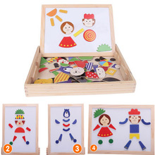 Multifunctional Drawing Writing Board Magnetic Puzzle Sketchpad Wooden Toy Montessori Early Learning great(China)