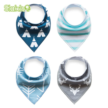 4Pcs Baby Bibs Soft Cotton Toddler Newborn Kids Triangle Scarf Colorful Printing Baby Bandana Baby Towel Babero Infant Bibs Burp(China)