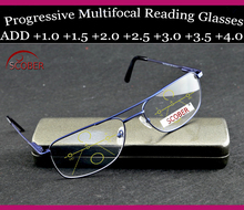 = SCOBER = Progressive Multifocal Reading Glasses Designer pilot double bridge spring hinge See Near And Far TOP 0 ADD +1 To +4(China)