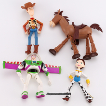 18cm 4pcs/ set Toy Story Toys Buzz Lightyear Woody Jessie Resin Model Strange New Arrivals Action Figures Products WJZDY1T4(China)