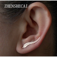 2 Pairs Women Fashion Jewelry Girl Silver Gold Color Ear Sweep Wrap Lady Ear Climber Leafs Ear Stud Earrings Brincos Bijoux e02(China)