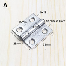 1pc DS510b Stainless Steel # 304 25*25mm Hinge 4 Mounting Holes Home Decoration Free Shipping Russia