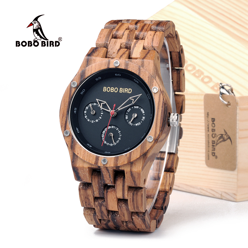 BOBO BIRD WN11 Wooden Mens Watches Week Date Hours Pointer Casual Zebra Wood Band Quartz Watch Accept Customized Dropshipping<br>