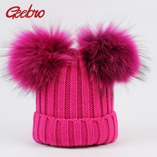 Geebro Winter Baby Hat Real Fur Pom Pom Knitted Toddler Kid Warm Real Double Raccoon Fur Balls Beanies for Boys and Girls GS033(China)