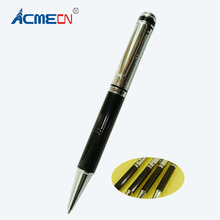 ACMECN Mini Heavy 33g Ballpoint Pen Unique Silver & Black Epoxy Logo Ball Pens 135mm Pocket size Unisex Pens for girl's Gifts