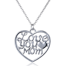 "Birthday Mother's Day Gift ""Love You Mom"" Letter Heart Pendent Necklace New Hot Personalized Jewelry Necklaces For Women Y4"