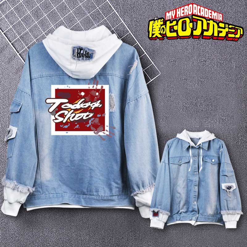 Coshome Boku No My Hero Academia Midoriya Shoto Todoroki Cosplay Hoodies Costumes Men Women Denim Jacket (7)