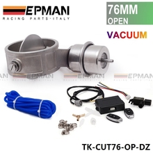 "Exhaust Control Valve Set Cutout 3"" 76mm Pipe OPEN Style With Vacuum Actuator with Wireless Remote Controller Set TK-CUT76-OP-DZ"
