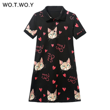 WOTWOY Love Cats Letter Print Polo Dresses Women Cat Dress Loose Casual T shirt Dress Pockets Summer Robe Women Vestido De Festa