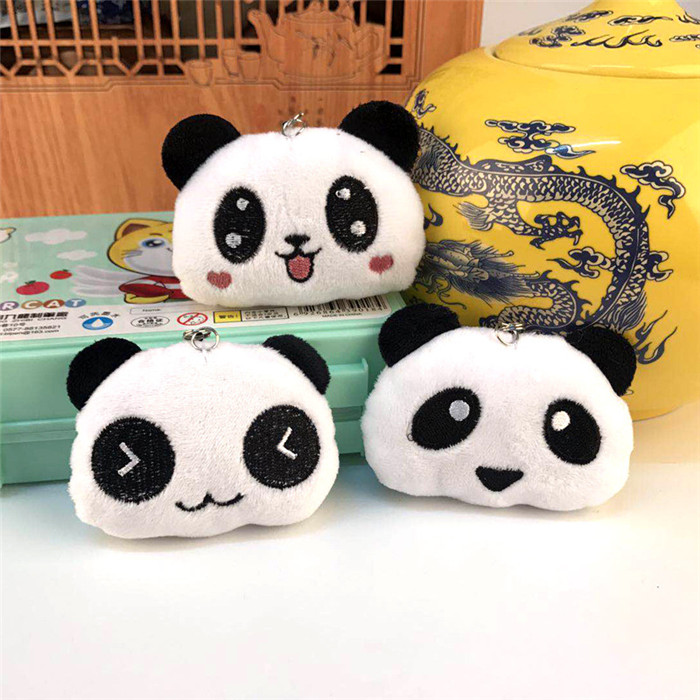 Fashion Panda Emoji Plush Toys Key Chain Ring Pom Bear Keychain Woman Bag Charms Man Car Keyring Wedding Party Trinket Jewelry (24)_