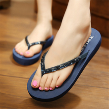 Women Summer Slippers Sandals Flip Flops 2017 Shoes Sequins Imitation Diamonds Bling Wedges Bohemia Beach Slippers Blue Size 8 9